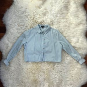 Topshop Cropped Button Up Shirt